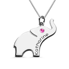 Load image into Gallery viewer, Elephant Lucky Charm Necklace Engraved Name 18k Gold Plated