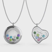 Load and play video in Gallery viewer, Customizable Engraved Floating Charm Locket For Mom or Grandma