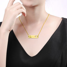 Load image into Gallery viewer, Engravable Double Bar Necklace with Heart Cutout In Gold