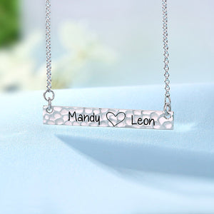 Customized Hammered Name Bar Necklace Sterling Silver