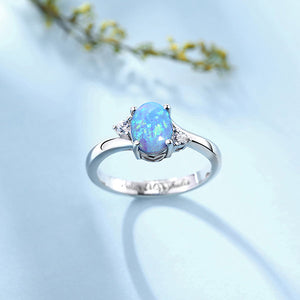 Engraved Sterling Silver Blue Oval Opal Ring