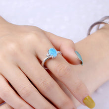 Load image into Gallery viewer, Engraved Sterling Silver Blue Oval Opal Ring