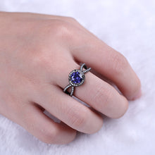 Load image into Gallery viewer, Personalized Black Plated Birthstone Halo Ring