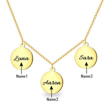 Load image into Gallery viewer, Personalized Triple Discs Name Necklace Sterling Silver