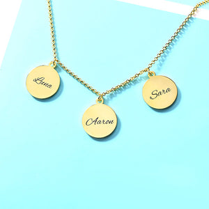 Personalized Triple Discs Name Necklace Sterling Silver