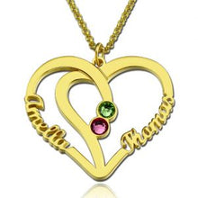 Load image into Gallery viewer, Heart Names Necklace with Two Birthstones Sterling Silver