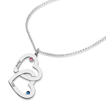 Load image into Gallery viewer, Engraved 1-5 Intertwined Hearts Necklace With Birthstones Sterling Silver