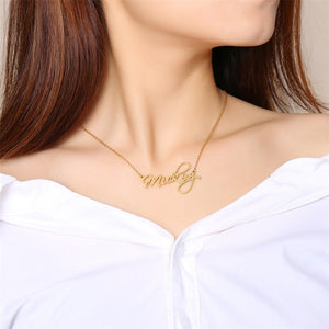Scriptina Personalized Name Necklaces Solid Stainless Steel Choker for Women Fashion Pendant Custom Special Unique Gift