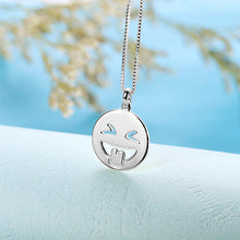 Load image into Gallery viewer, Emoji Face Disc Necklace in Sterling Silver