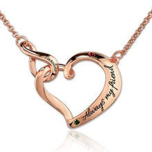 Load image into Gallery viewer, Infinity Love Heart Necklace With Birthstones Platinum Plated