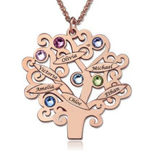 Load image into Gallery viewer, Family Tree Necklace with Birthstones Up to 6 Names