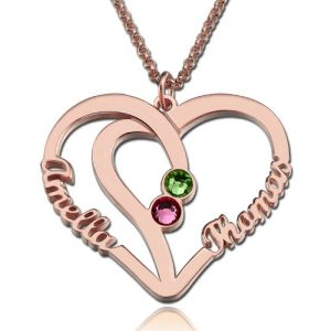 Heart Names Necklace with Two Birthstones Sterling Silver