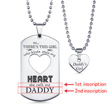 Load image into Gallery viewer, Personalized Couples Dog Tag Necklace With Cut Out Heart