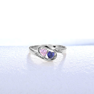 Engraved Two Heart Birthstones Promise Ring In Silver