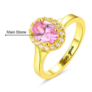 Engraved Stunning Oval Shaped Stone Halo Ring In Gold