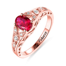 Load image into Gallery viewer, Personalized Oval Birthstone Vine Ring For Woman In Gold