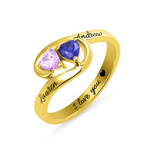 Load image into Gallery viewer, Engraved Two Heart Birthstones Promise Ring In Silver