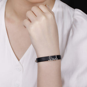 "Personalized ""Love"" Leather Bracelet"