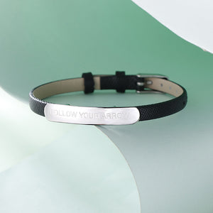 Custom Engraved Bar Leather Bracelet For Her