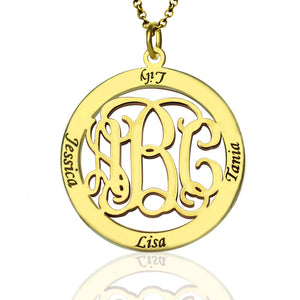 Monogram Necklace Stamped 4 Names for Grandma