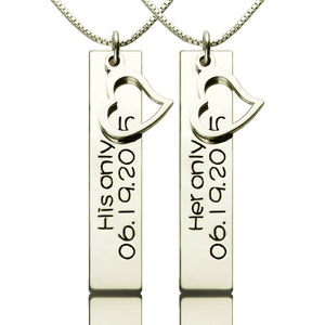 Personalized Couple Bar Necklace with Name & Date Silver