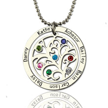 Load image into Gallery viewer, Personalized Circle Family Tree Birthstone 7 Names Necklace