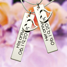 Load image into Gallery viewer, Personalized Couple Bar Necklace with Name & Date Silver