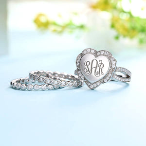 Engraved Heart Shape Stackable Monogram Ring