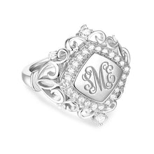 Load image into Gallery viewer, Personalized CZ Monogram Signet Ring