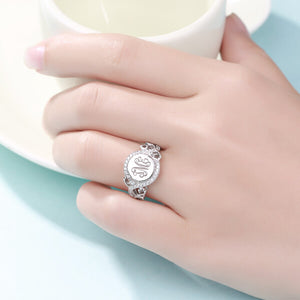 Personalized Round CZ Monogram Ring