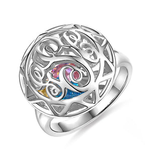 Monogram Cage Ring With Heart Birthstones In Silver