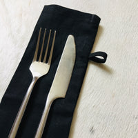 Cotton Cutlery Pouch - Black