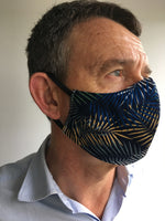 Mens Reusable Face Mask - Navy Pattern