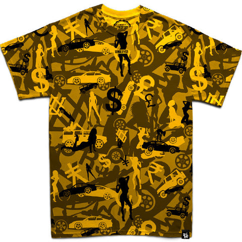 Money, Cars & Girls Camo (Gold) T-Shirt