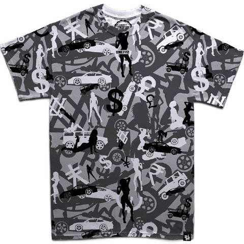 Money, Cars & Girls Camo (Silver) T-Shirt