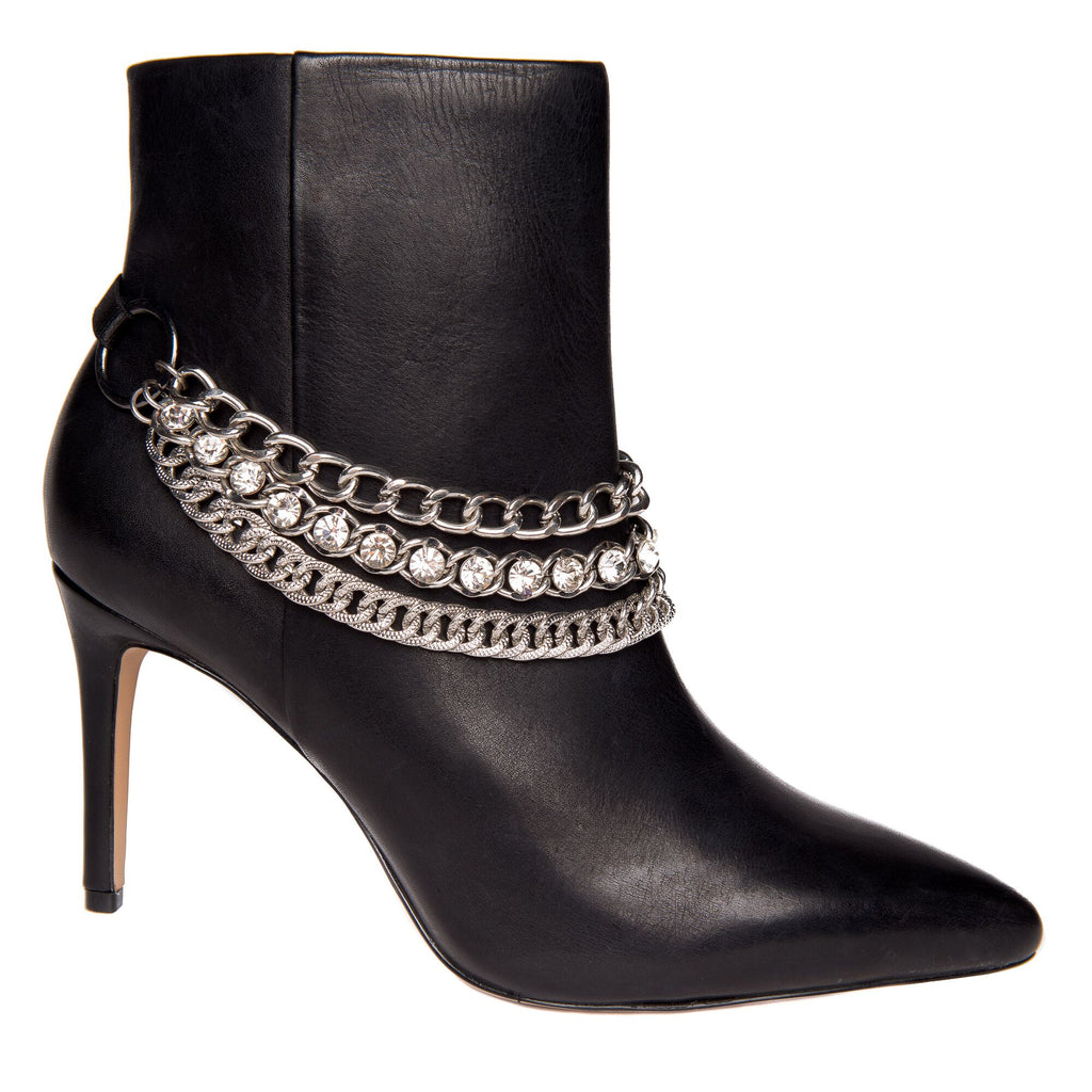 Triple chain and rhinestone rhinestone boot strap