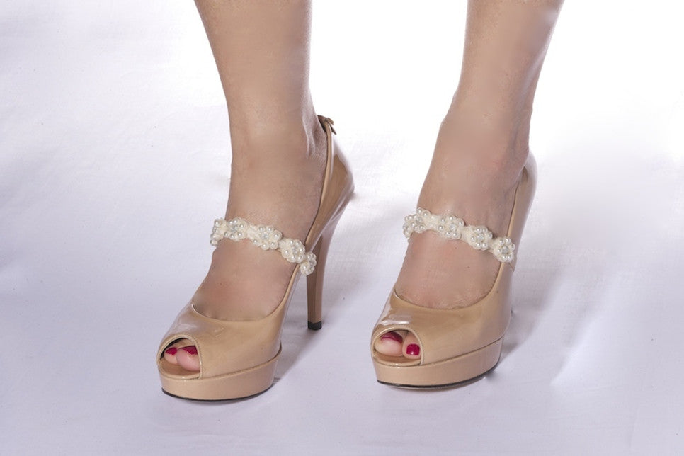 footwear jewelry shoe strap with pearl