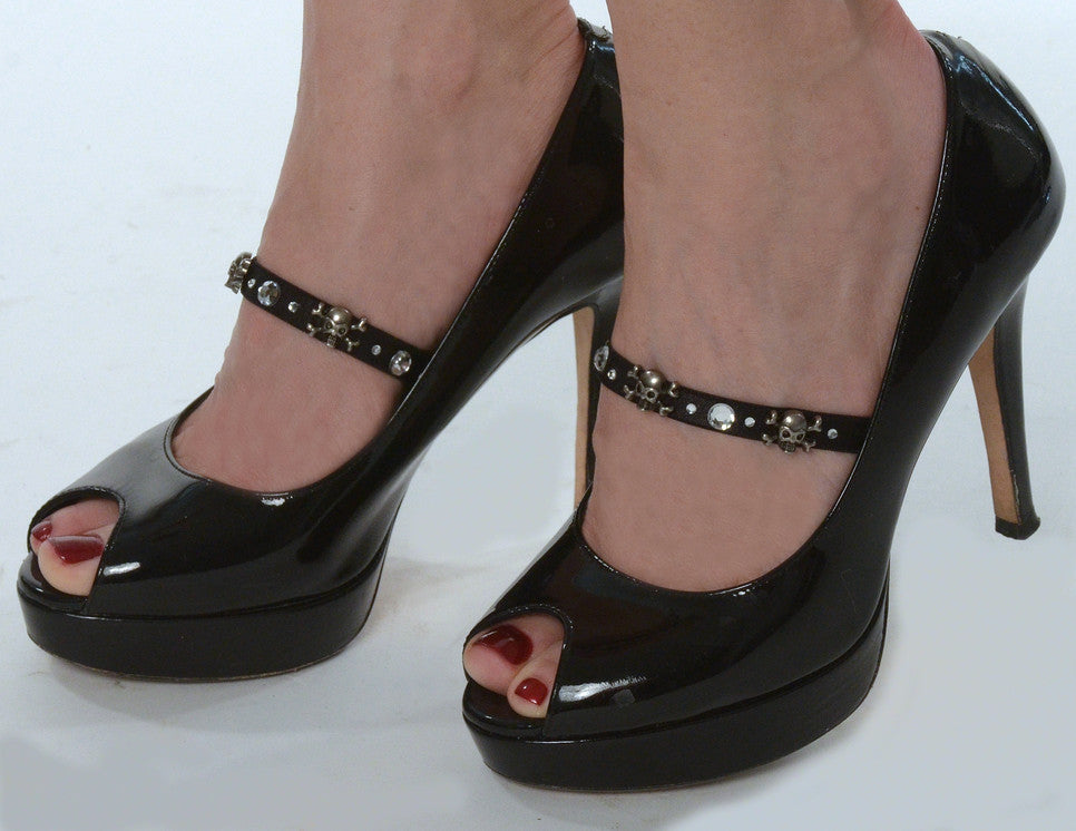 shoe accessories with skulls and rhinestones
