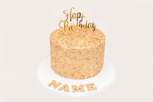 All Gold Happy Birthday Sequin Cake