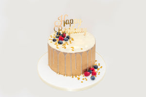 Gold & Fruits Happy Birthday Drip Cake