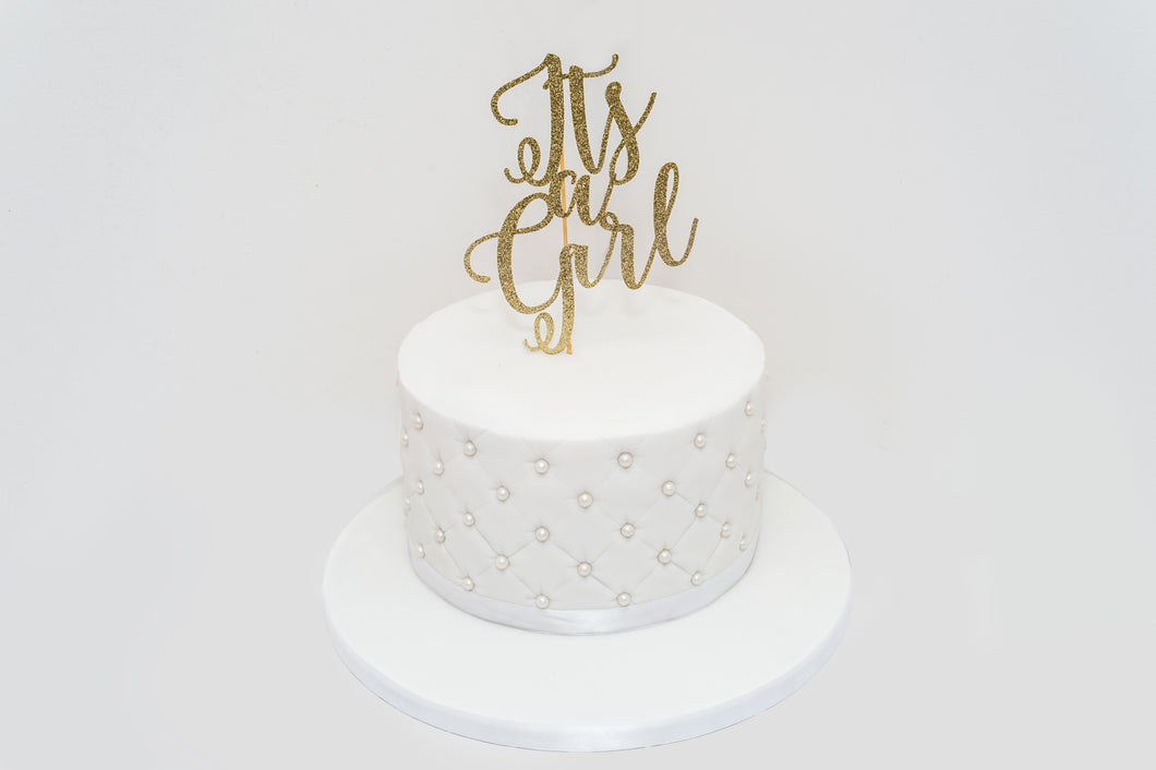 It's a girl white sugar pearls Celebration Cake