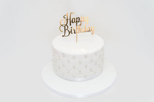 White Sugar Pearls Birthday Celebration Cake