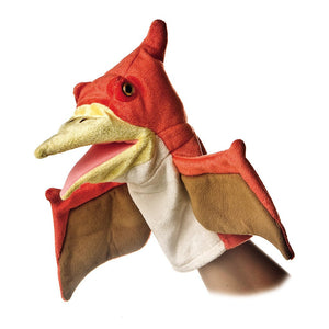 Red and white pteranodon style plush dinosaur puppet