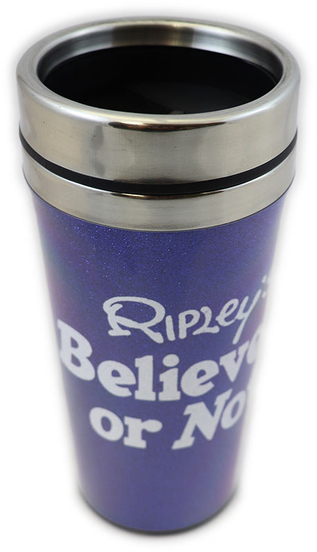 "A medium blue glitter travel mug with white text that reads ""Ripley's Believe It or Not!"""