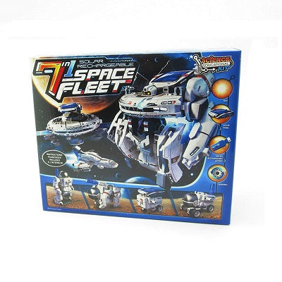 Retail packaging for the 7-in-1 Solar Rechargeable Space Fleet kit. Packaging illustrates a number of space themed solar rechargeable robots that can be configured using the kit.