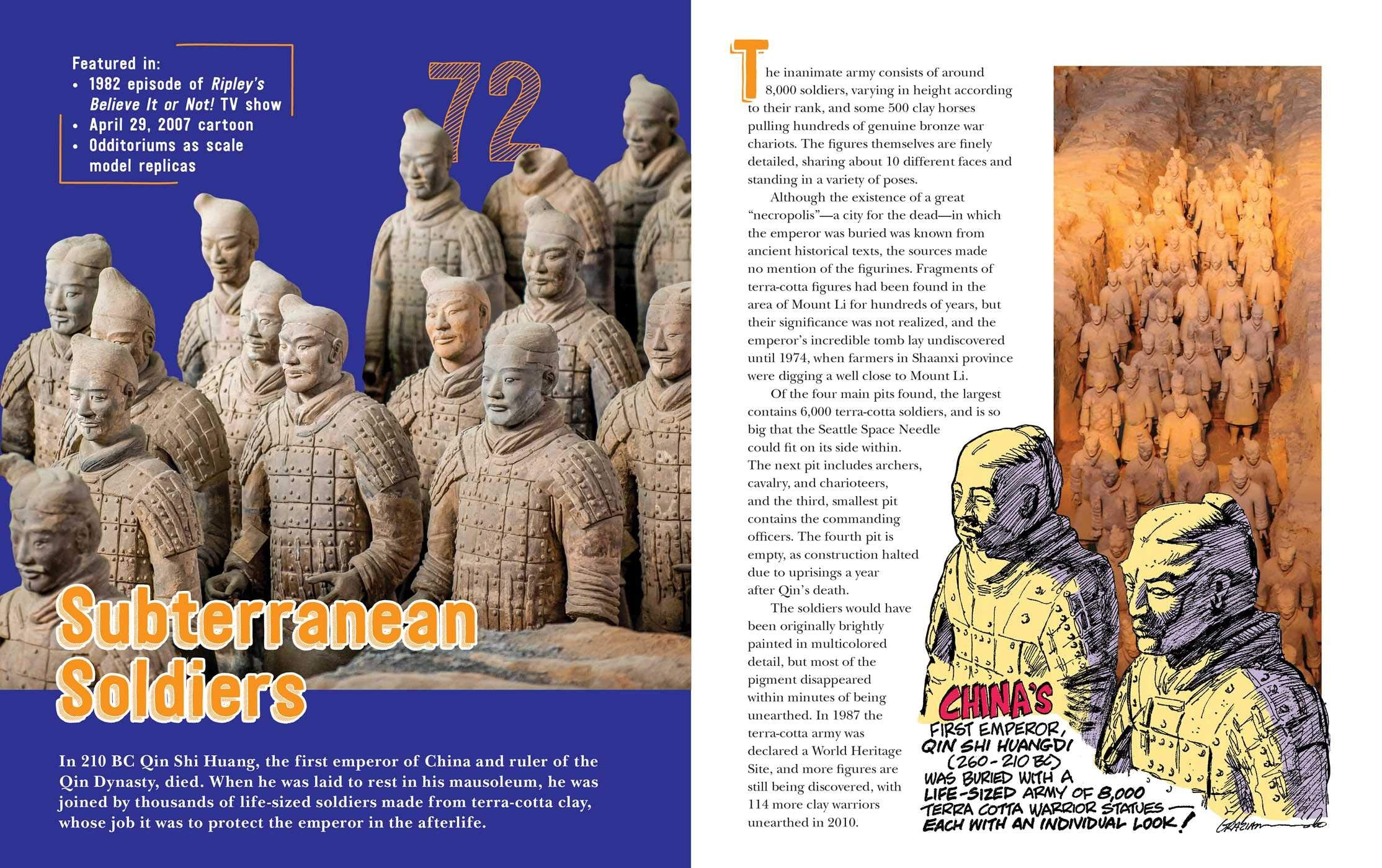 Sample two page colour spread from the book including text and images about China's life sized subterranean terra cotta soldiers