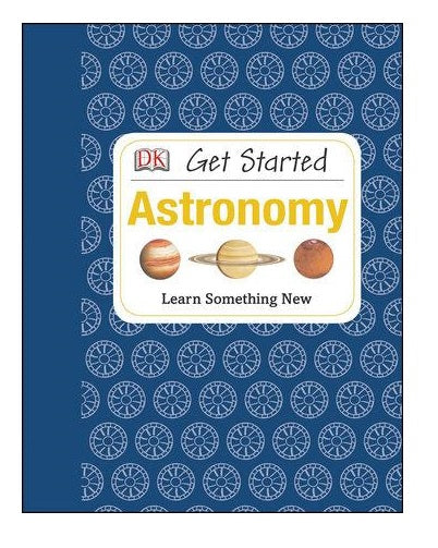 Blue hardcover educational astronomy book for beginners