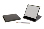 Load image into Gallery viewer, Mini folding grey Buddha board in a black case with paintbrush