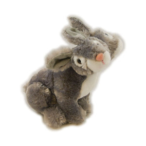 Two headed grey and white bunny plush toy