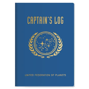 "A blue softcover notebook with gold lettering that reads ""Captain's Log"" and ""United Federation of Planets"""